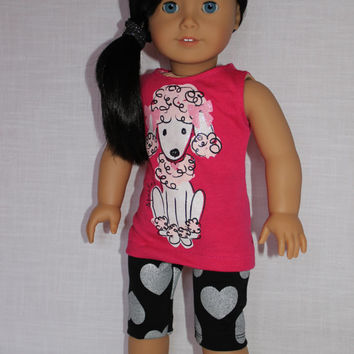 18 inch doll clothes, pink poodle graphic print tank top , pink doll t-shirt, and black shorts with harts