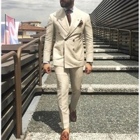 2017 Latest Coat Pant Designs Ivory Beige Double Breasted Men Suit Formal Slim Fit Gentle Blazer Custom 2 Piece mens suits Terno