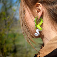 Tricolor Tentacle Plug or Octopus Tentacles Gauges, Earrings for Stretched Lobes, Fake Gauges or Ear Plugs
