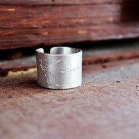 """World Map Ring / Travel Ring / Travel Collection / Traveler Ring / Tall Ring / Handmade Ring With World Map And """"Wanderlust"""" Engraving"""