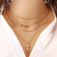Summer Style Bohemia Body Chain Cross Necklaces Mujer Multilayer Fashion Bead Double Chain Infinity Necklace For LADIES