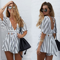 Open Back Striped Romper