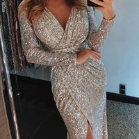 New Golden Sequin Irregular V-neck Party Maxi Dress