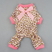 Fitwarm® Leopard Ribbon Soft Velvet Dog Pajamas for Pet Dog Clothes Comfy Pjs, X-small