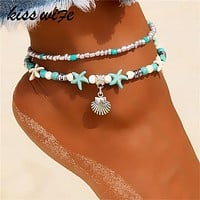 Vintage Shell Beads Anklets For Women Multi Layer Anklet Leg Bracelet Bohemian Beach Ankle Chain Jewelry CHOOSE STYLE FREE SHIPPING