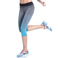 Women Sport Pants Fitness Stretch Gym Cropped Leggings Athletic Trousers