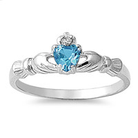 925 Sterling Silver CZ Benediction of the Claddagh Simulated Blue Topaz Ring 7MM