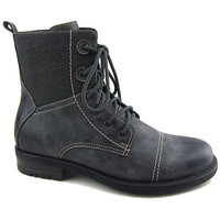 Mens PolarFox Ankle Boots Military Combat Style Shoes Rugged Faux Leather Canvas