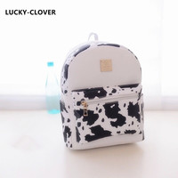 Women Backpack 2016 Hot Sale Fashion Causal High Quality Dairy cow Printing PU Leather Backpacks For Girlsmochila