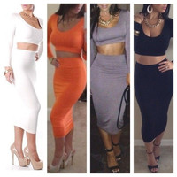 Celeb Womens 2PCS High Waisted Cropped Top+Skirt Dress Outfit Two Piece Bodycon DressBodysuit Bodycon Clubwear Summer Casual