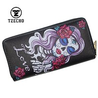 TZECHO Women Wallets Long Zipper Wallet for Women With Phone PU Walet Skull Head Ladies Clutch Purses Rfid Credit Cards Holder