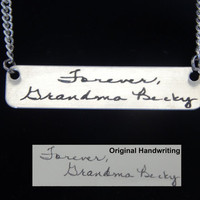 Sterling Silver Custom Personalized Handwriting Bar Necklace Awesome Gift, Memorial Jewelry