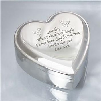 Engraved Silver Heart Jewelry Box