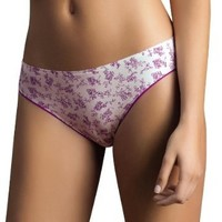 Laura Women's High Quality Seamless Thong Flower Prints Purple #103087