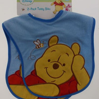 Disney 2 Pack Terry Cloth Bibs 0+ Months Winnie Pooh Blue Embroidered NEW