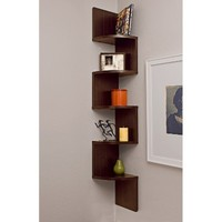 Large Corner Shelf- Walnut Finish