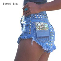 2017 Women's Fashion Vintage Tassel Ripped Loose High Waisted Short Jeans Punk Sexy Hot Woman Denim Shorts free shipping C0471