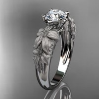 14kt white gold diamond floral wedding ring,engagement ring ADLR96...... | AnjaysDesigns - Jewelry on ArtFire