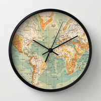Antique French World Map Wall Clock by Carambas