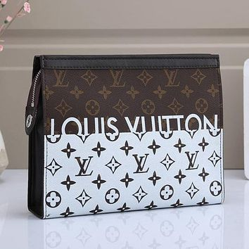 LV Louis Vuitton Colorblock Letter Printing Cosmetic Bag Clutch Briefcase #2