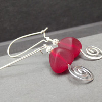 Cherry Red Drop Earrings: Sea Glass Nugget Hammered Silver Swirl Spiral Beach Holiday Christmas Jewelry