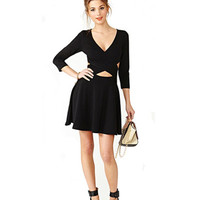 Black Knit Cross Front Mini Dress