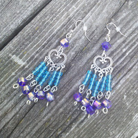 Blue Purple Heart Earrings ,Chandelier Earrings ,Jewelry boho hippie earrings,High Fashion Beautiful earrings,Gypsy earrings,Pagan Wiccan