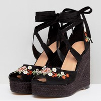 ASOS TAMIKO Embroidered High Wedges at asos.com