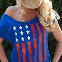 American Flag 4th of July Off The Shoulder Terry Dolman Top
