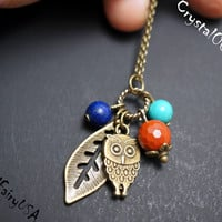 Retro bronze lapis turquoise jasper leaf owl necklace