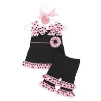 Mud Pie Baby Girls Perfectly Princess Tunic and Ruffle Capri Outfit- Clothes