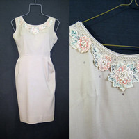 50s 60s Dress Vintage Wiggle with Rhinestones Pearls Flowers Appliques M Petite
