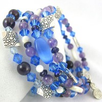 Blue Cat's eye with Mother of Pearl, purple and silver bangle bracelet