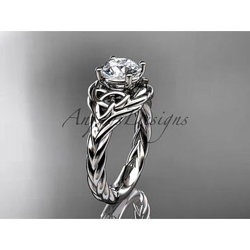 "Platinum celtic trinity twisted rope wedding ring with a ""Forever One"" Moissanite center stone RPCT9125"