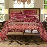 Jacquard stain cotton Luxury Bedding set king queen size double bed set cute tassels duvet cover bed sheet set pillow shams