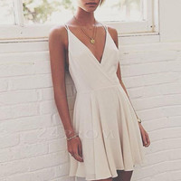 Simple v neck white short prom dress, homecoming dress