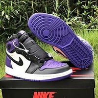 Air Jordan 1 Popular Women Men Casual Sport Basketball Shoes Sneakers Black&White&Purple
