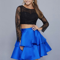 Lace Long Sleeve Dress with Satin Skirt