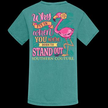 Southern Couture Why Fit In Flamingo Comfort Colors T-Shirt