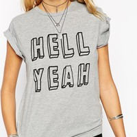 ASOS PETITE Exclusive T-Shirt With Hell Yeah Print