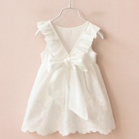 Baby Girls Dress Sleeveless One Piece Bow Hollow Princess Tutu Dresses Toddler Kids Clothes For Summer vestidos