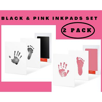 2 Pack Black and Pink Clean-Touch Baby Safe Ink Pads Make Baby's Hand & Footprint (Clean-Touch Baby Safe Inkpad)