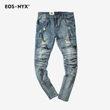 Eosnyx Justin Bieber Kanye West Mens Distressed Ripped Skinny Jeans Brand Jean Skinny Homme Fashion