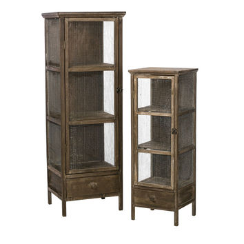 Rustic Weathered Wood Chicken Wire Cabinets (Set of 2)