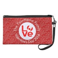 Canada LOVE White Circle Red Background Wristlet Purse