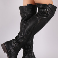 Slouchy Buckled Riding Boots
