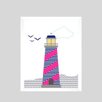 Baby Print, Nautical Print, Nautical Nursery Decor, Lighthouse Print, Nautical Print, Baby Girl Nursery Art Print CUSTOMIZE YOUR COLORS 8x10