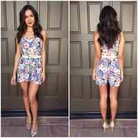 Blue Crush Floral Babydoll Romper