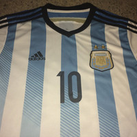 Sale!! Vintage Adidas ARGENTINA Home Soccer Jersey ARGENTINO Football Shirt #10 MESSI