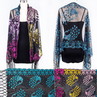 Women Sequins Peacock Heart Crochet Fringe Wrap Scarf Elegant Lace Shawl Wedding